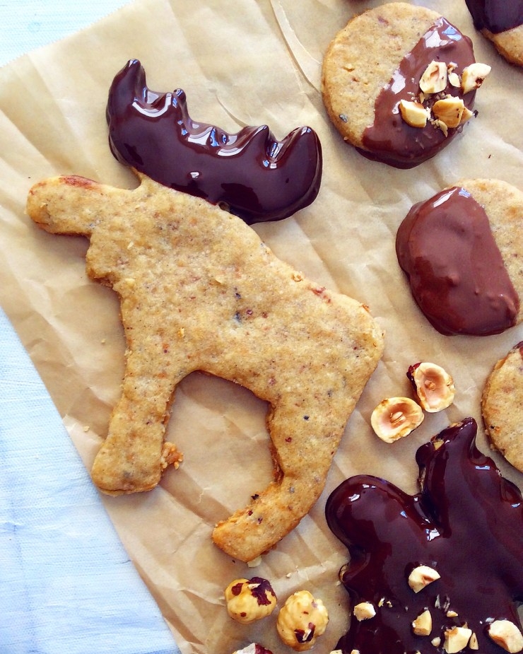Chocolate Dipped Hazelnut & Cardamom Shortbread Cookies