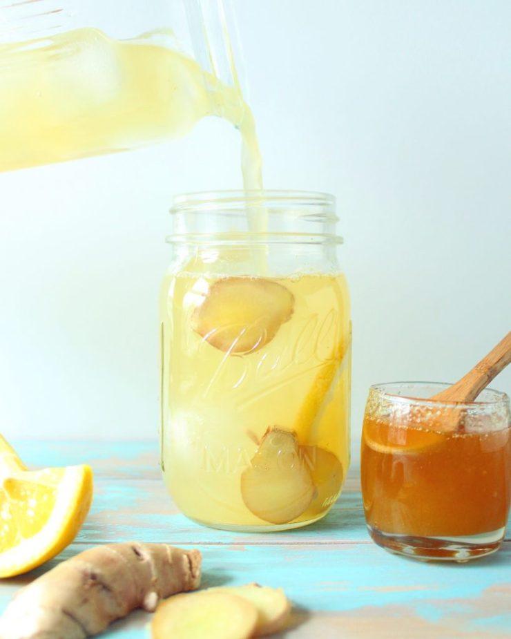 Ginger Honey Lemonade Baked Greens