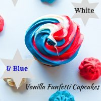Red White N Blue Vanilla Funfetti Cupcakes at Delectable, www.delectablecookingandbaking.com