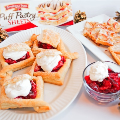 Easy Puff Pastry Treats for Holiday Entertaining! Puff Pastry Apple Tarts and Apple Cranberry Jelly Puff Pastry Cases, www.bakeitwithlove.com