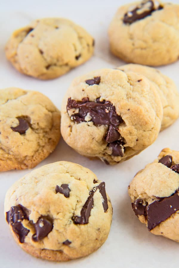 These fluffy, cake-like cookies are truly the best and most perfect sofot batch chocolate chip cookies!