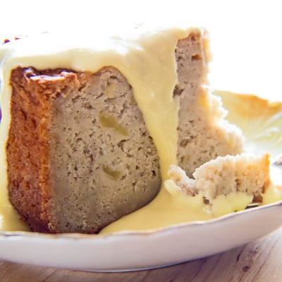 Tasty Irish Apple Cake with Vanilla Custard Sauce will be a favorite for the whole family!