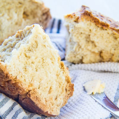 Traditional Irish Soda Bread (white bread) consists of only flour, buttermilk, baking soda and salt and is super easy to make!