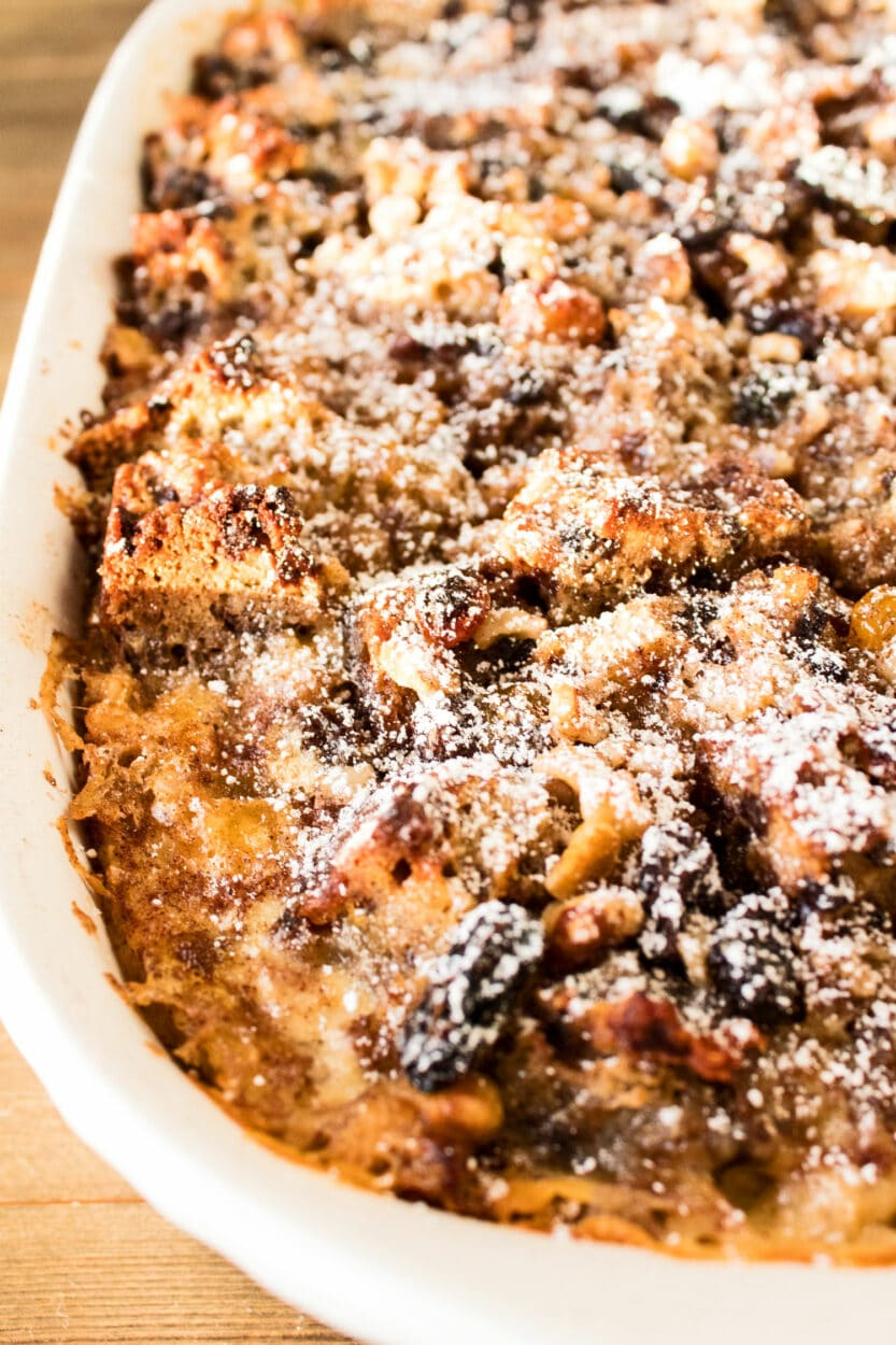 Chocolate Chip Banana Bread Bread Pudding right out of the oven