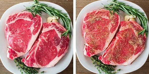 ribeye steaks at room temperature and seasoned ready to be pan seared
