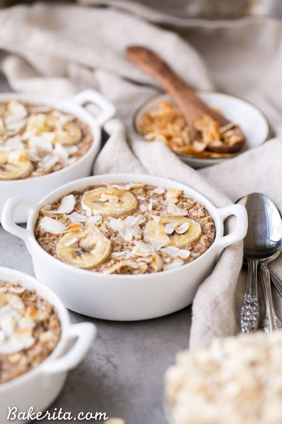 This Banana Coconut Baked Oatmeal is packed with fiber and potassium for a healthy, hearty breakfast. This easy recipe is vegan, gluten-free, and sweetened with a ripe banana - no added sugar needed!
