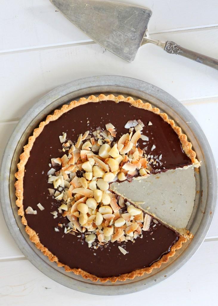 Dark Chocolate, Coconut, & Macadamia Nut Tart