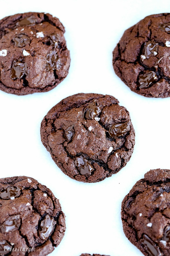 These flourless Chocolate Brownie Cookies are incredibly fudgy and super chocolatey - they're like a brownie in cookie form! These cookies are naturally gluten-free.