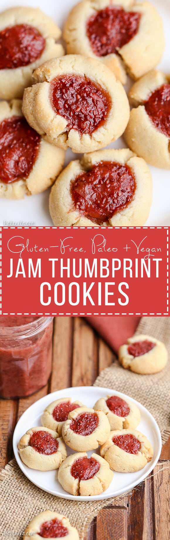 These Jam Thumbprint Cookies are a simple and delicious cookie made with only four ingredients! You won't be able to have just one of these gluten-free, vegan, and Paleo-friendly cookies.