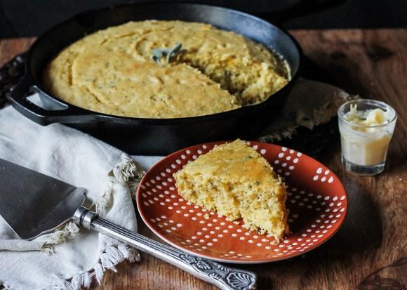 Brown Butter Sage Skillet Cornbread - Bakerita
