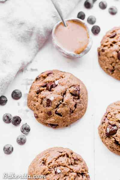 These naturallyFlourless Almond Butter Chocolate Chip Cookies are so tender that they melt in your mouth! These flavorful cookies have just 5 ingredients and they are gluten-free, Paleo, refined sugar-free and vegan.