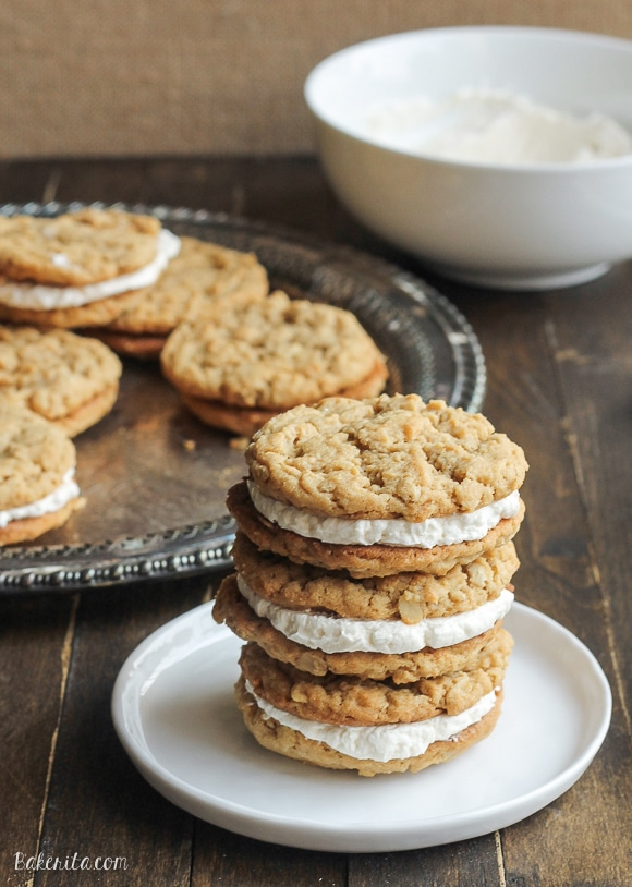 These Peanut Butter Oatmeal Sandwich Cookies with Marshmallow Creme Filling are reminiscent of Little Debbie's Oatmeal Creme Pies with their super soft texture and creme filling - but they have a peanut butter twist!