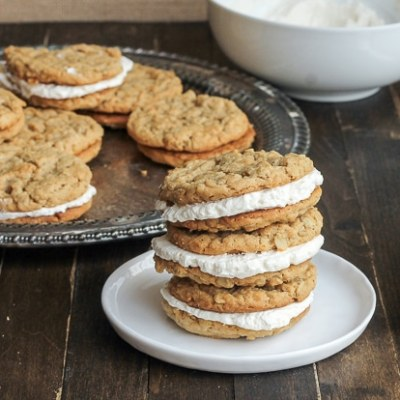 Peanut Butter Oatmeal Sandwich Cookies with Marshmallow Creme Filling