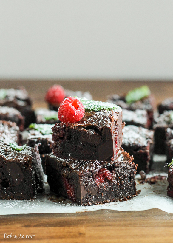 These Raspberry Mint Brownies use tangy raspberries and fresh mint for an addictively fresh and minty taste in these rich and fudgy chocolate brownies.
