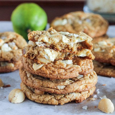 Tropical Cookies (with White Chocolate, Macadamia Nuts, Lime Zest + Toasted Coconut)