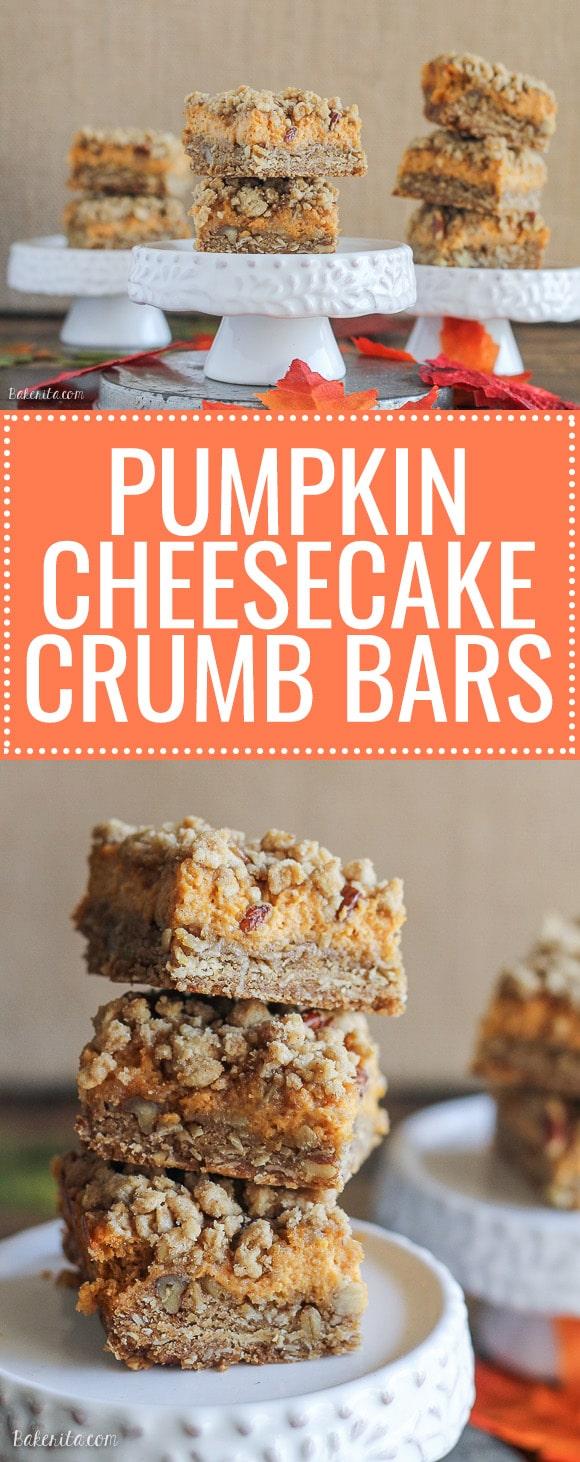 Pumpkin Cheesecake Crumb Bars - Bakerita