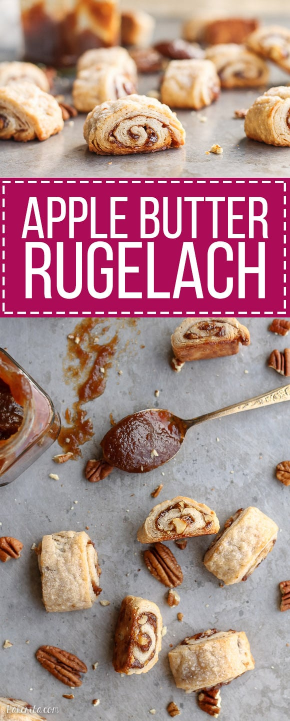 These Apple Butter Rugelach will be gone before you know it - you can't eat just one! Butter and cream cheese make the rugelach dough super tender and flaky.