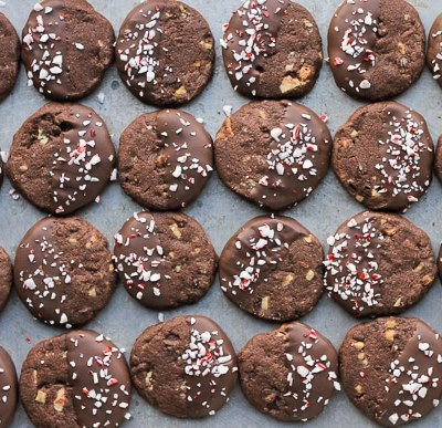 Chocolate Mint Shortbread Cookies