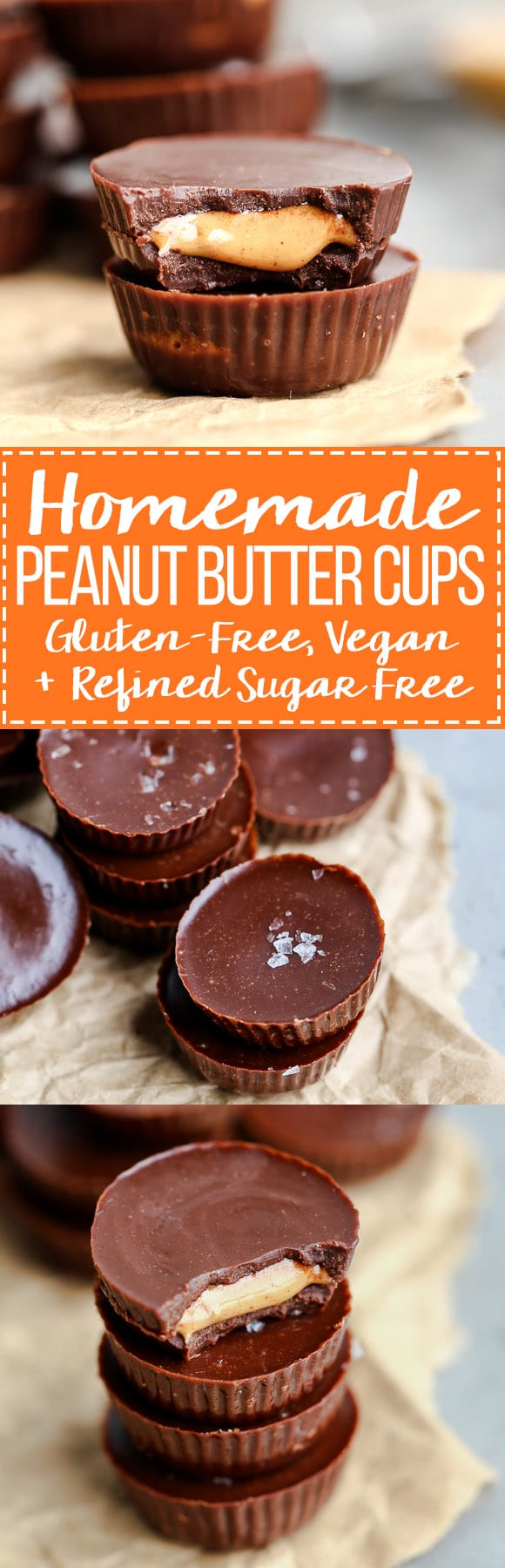 These homemade Peanut Butter Cups are a healthier version of my favorite candy, made with only four ingredients! They are made with a refined sugar-free + vegan homemade chocolate and sprinkled with flaky sea salt.