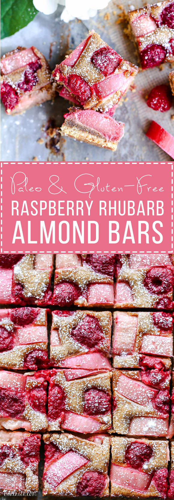 These Raspberry Rhubarb Almond Bars have an crisp almond-flour crust topped with soft almond frangipane, fresh raspberries, and tart rhubarb. This recipe is Paleo, gluten free + refined sugar free.