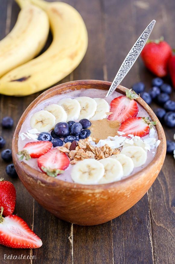This Peanut Butter Acai Bowl is the perfect creamy, healthy, and peanut buttery breakfast! The recipe makes one thick smoothie bowl, best topped with fresh fruit, granola, and peanut butter.