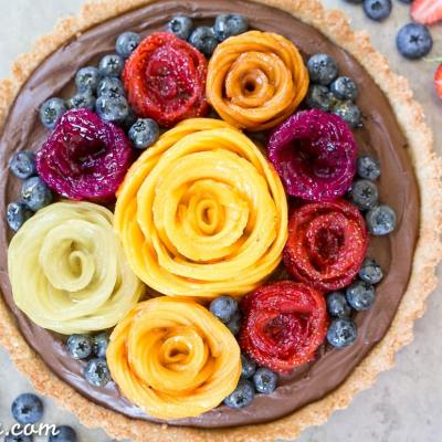 Chocolate Mousse Tart with Coconut Crust + Fresh Fruit Flowers (Gluten Free, Paleo + Vegan)