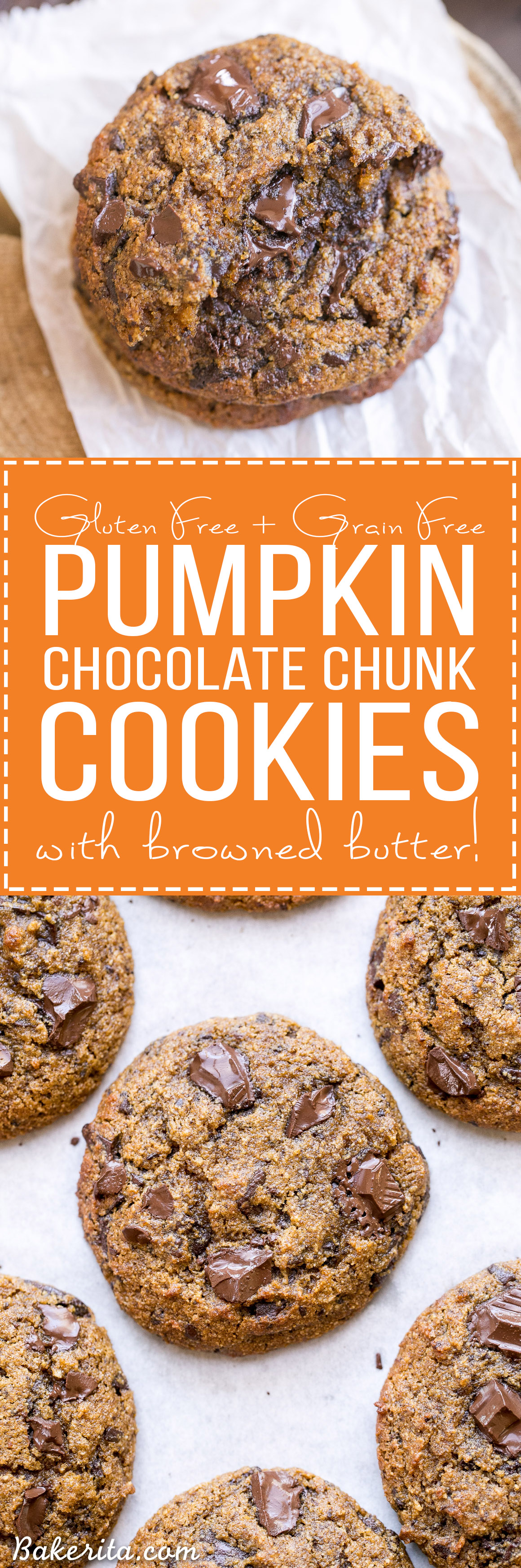 These Pumpkin Chocolate Chunk Cookies are made with browned butter, Cassonade sugar and flavored with cinnamon, nutmeg + cloves! You'll love the big dark chocolate chunks in these gluten-free + grain-free cookies.
