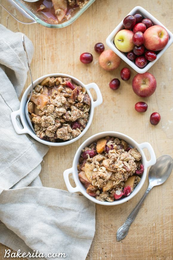 This Cranberry Apple Crisp is spiced with cinnamon, nutmeg & orange zest and topped with a crunchy pecan oatmeal crisp topping. This gluten-free and vegan crisp is the perfect holiday dessert!