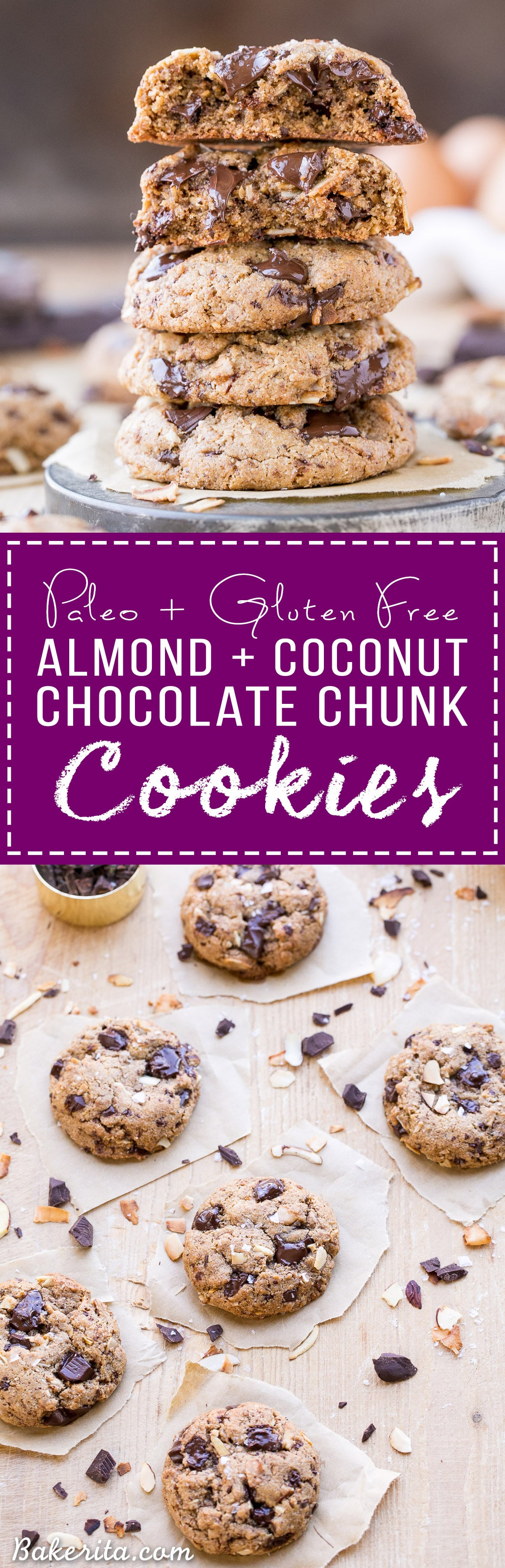 These Paleo Almond Coconut Chocolate Chunk Cookies are made with almond butter and big chocolate chunks for super gooey, decadent cookies! These gluten free and refined sugar free cookies will definitely satisfy your cookie craving.
