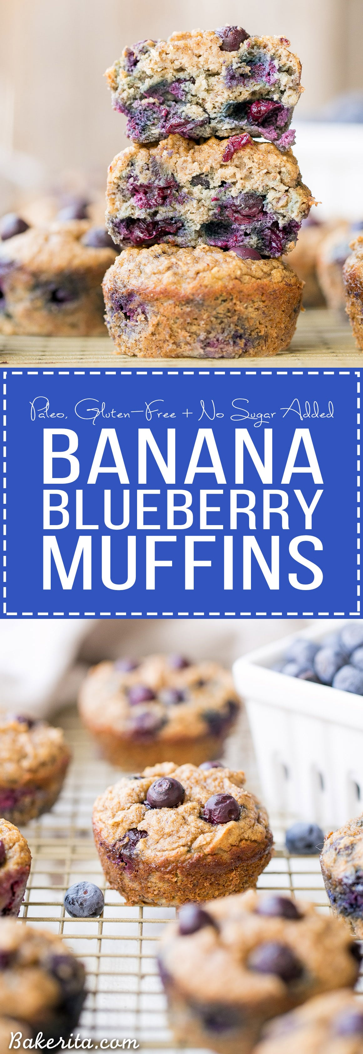These Paleo Banana Blueberry Muffins are moist, sweet, and make the perfect quick snack or easy breakfast. They're gluten-free, grain-free and sweetened only with bananas - they also freeze super well, so they're great for meal prepping!