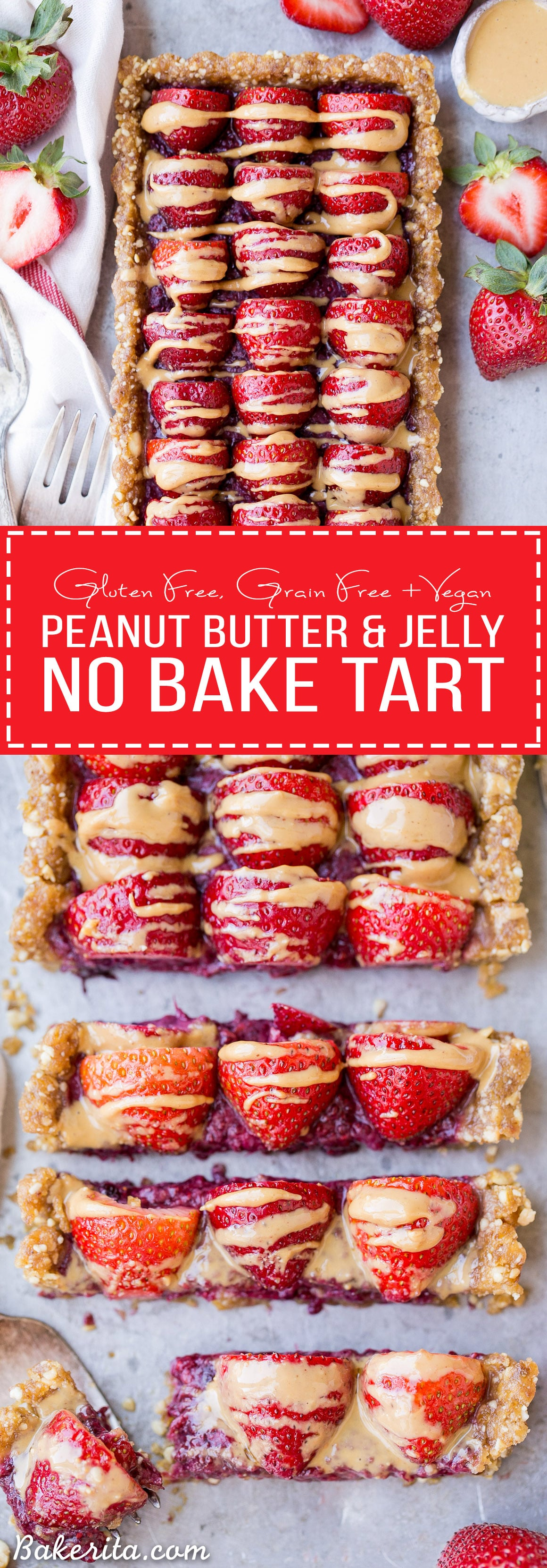 Skip the oven for this No Bake Peanut Butter & Jelly Tart - it's an easy and refreshing dessert made with just seven ingredients! It has a peanut date crust filled with berry chia jam. This rich and fruity tart is gluten-free, grain-free, refined sugar-free and vegan.