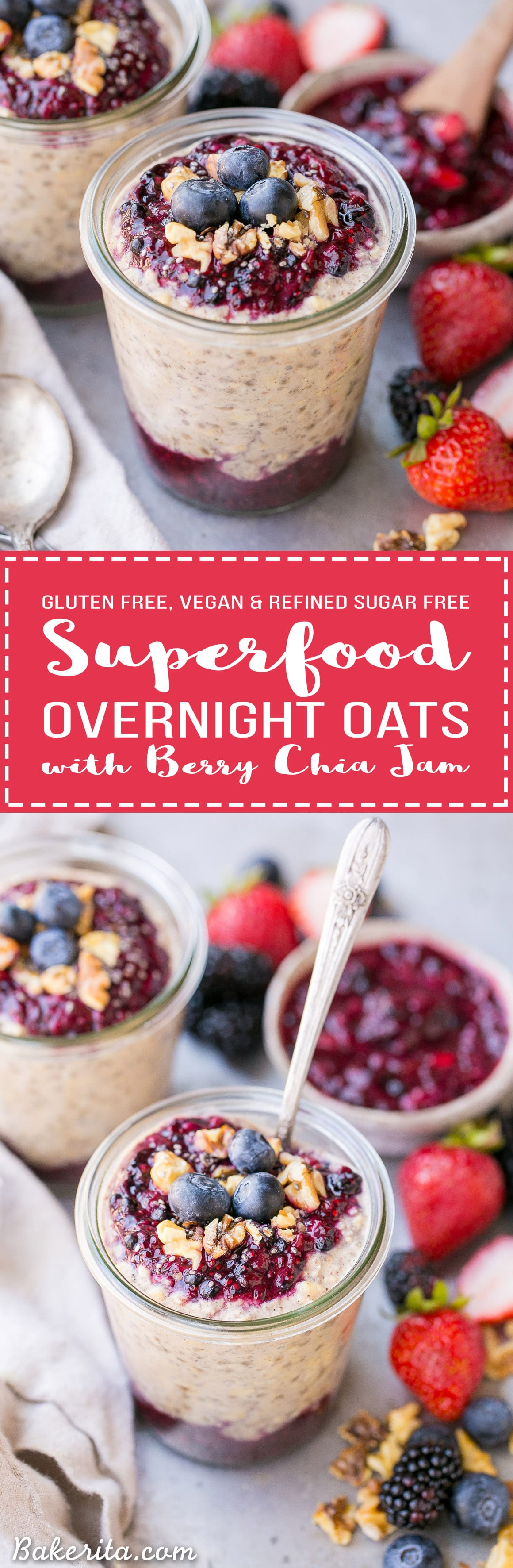 These Superfood Overnight Oats with Easy Berry Chia Jam are the perfect filling breakfast, loaded with superfoods to give your day a kickstart. This gluten-free, refined sugar-free and vegan recipe can be prepped in a just few minutes for a delicious grab-and-go breakfast.