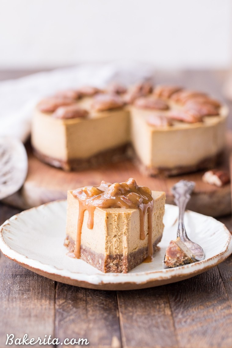 This No Bake Pumpkin Cheesecake is super creamy with a pecan crust and a spiced pumpkin cheesecake filling that's made with cashews! This healthier pumpkin cheesecake is gluten-free, dairy-free, paleo + vegan, and absolutely perfect for the holidays.