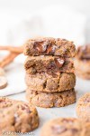 These Soft Chocolate Chip Pumpkin Cookies are acakey and delicious spiced cookie that's loaded with chocolate! If you like softer cookies, you'll adore these gluten-free, paleo + vegan pumpkin cookies.