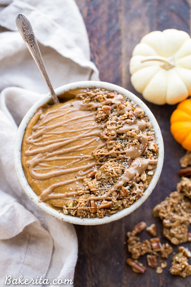 This Pumpkin Pie Smoothie Bowl tastes like a smoothie version of pumpkin pie filling! It's loaded with veggies for a filling, nutrient-dense breakfast that's bursting with fall flavors and spices. It's gluten-free, paleo, vegan and Whole30.