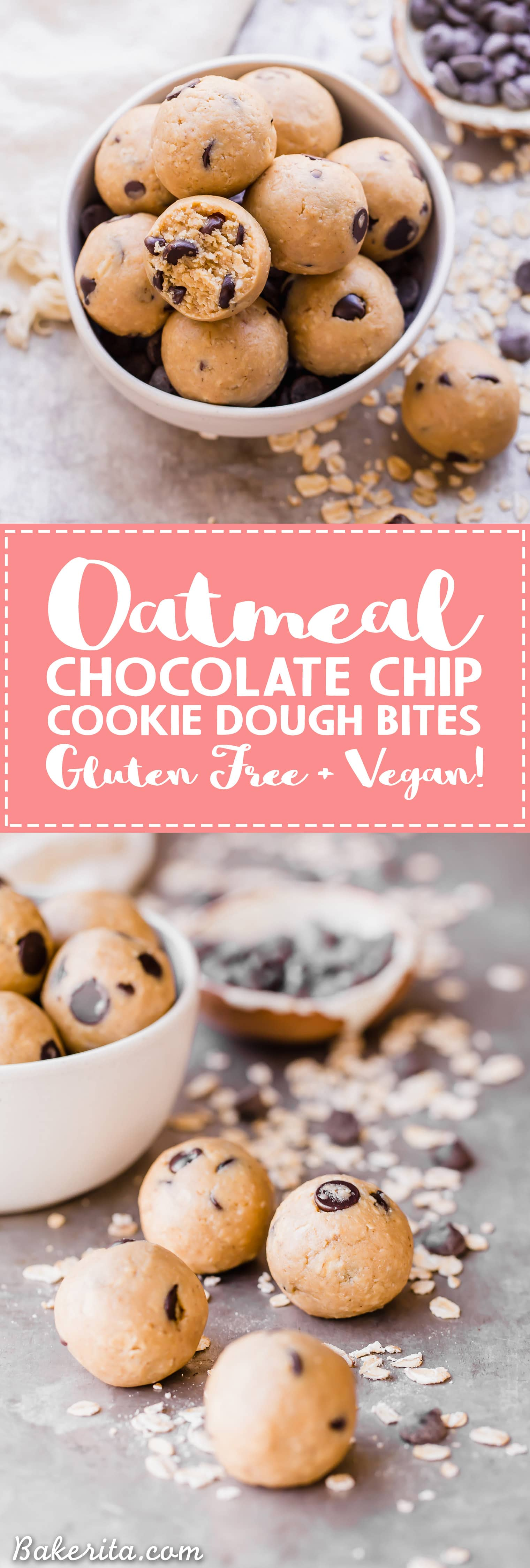 Oatmeal Chocolate Chip Cookie Dough Bites: Gluten Free & Vegan. Stacked in a bowl with oats and chocolate chips. Has text overlay.