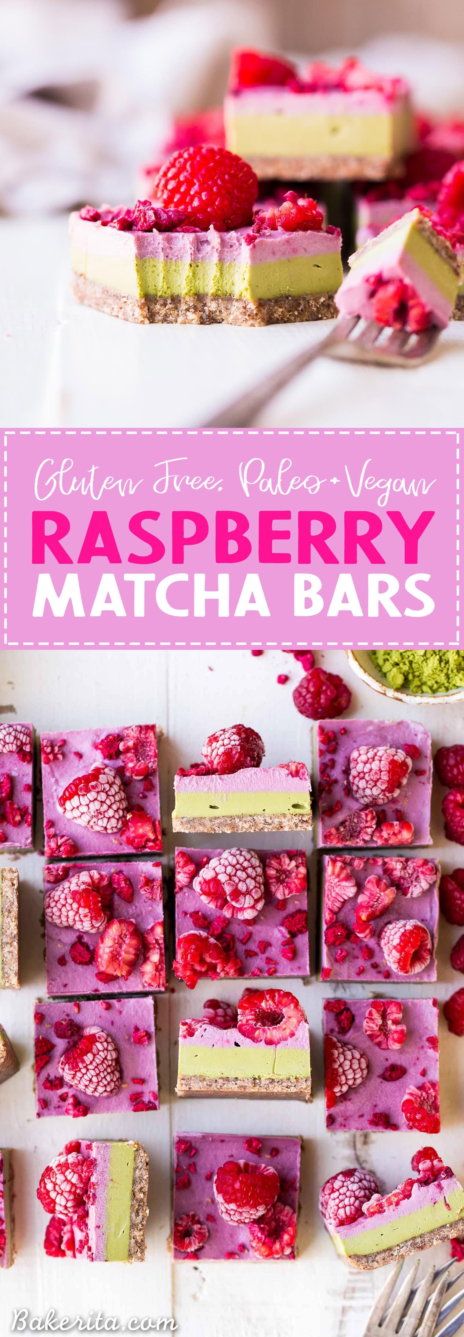 Layered Raspberry Matcha Bars with Text Overlay - Gluten Free, Paleo, Refined Sugar Free, Dairy Free & Vegan Dessert