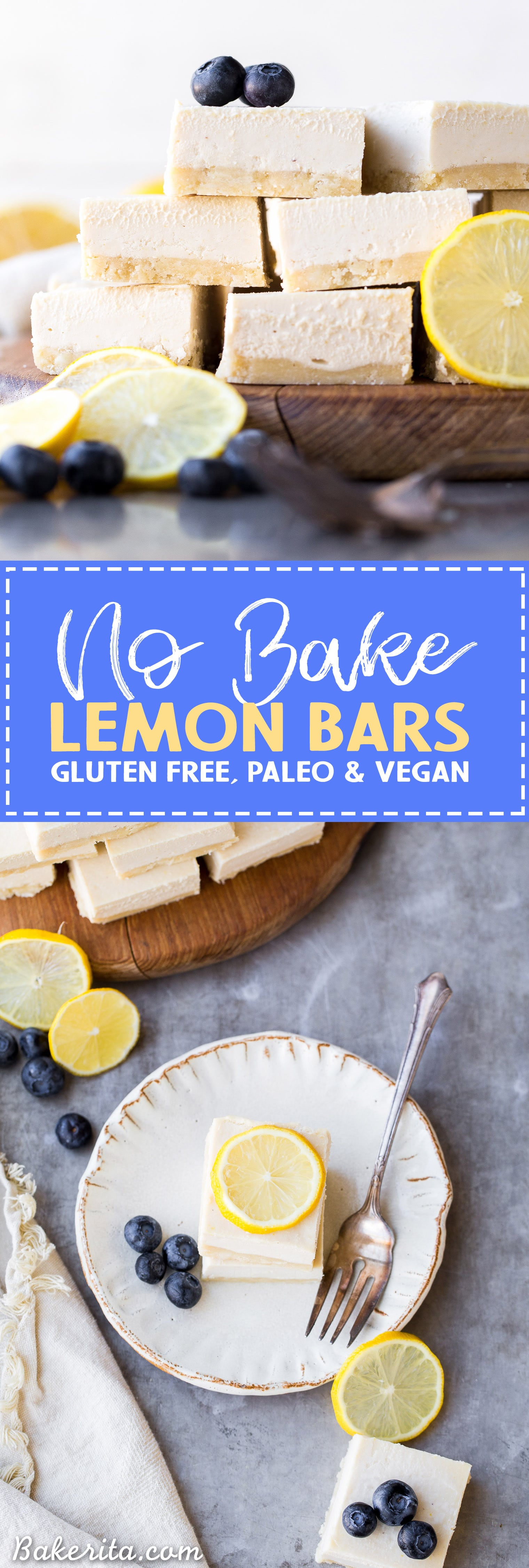 These No Bake Lemon Bars are incredibly smooth and creamy with a bright and tart lemon flavor. These gluten-free, paleo and vegan lemon bars come together quickly and easily in a blender.
