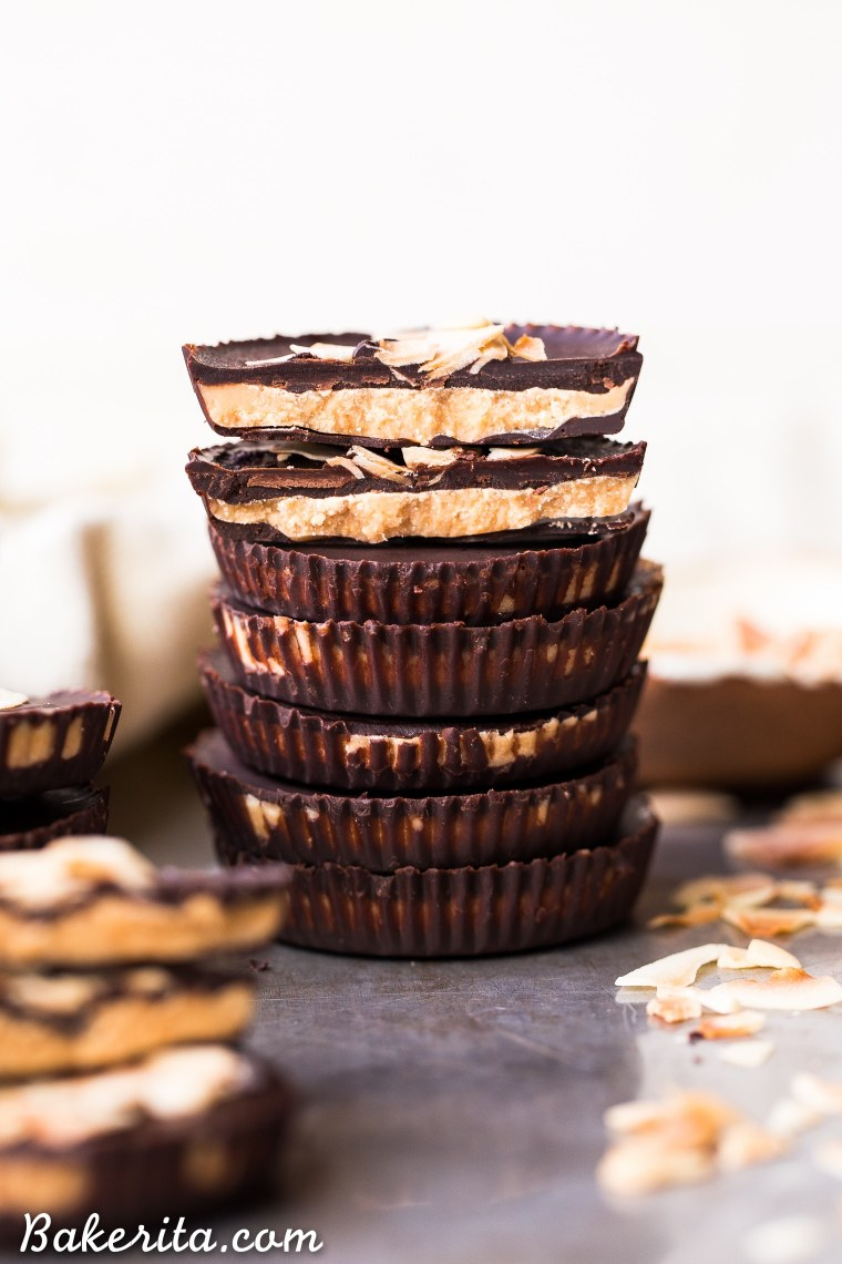 These Toasted Coconut Butter Cups are made with just four simple ingredients! Toasted coconut butter is the star of the show, encased in decadent homemade chocolate for a healthy homemade candy that will satisfy your sweet tooth. You're going to love these paleo + vegan coconut butter cups.