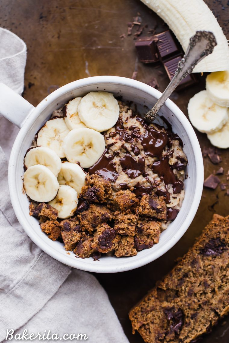 This Banana Bread Oatmeal is sweetened with JUST a ripe banana - no additional sweetener needed! It's loaded with cinnamon and tastes like a creamy version of banana bread - what more could you want?! This easy breakfast recipe is gluten-free and vegan, too.