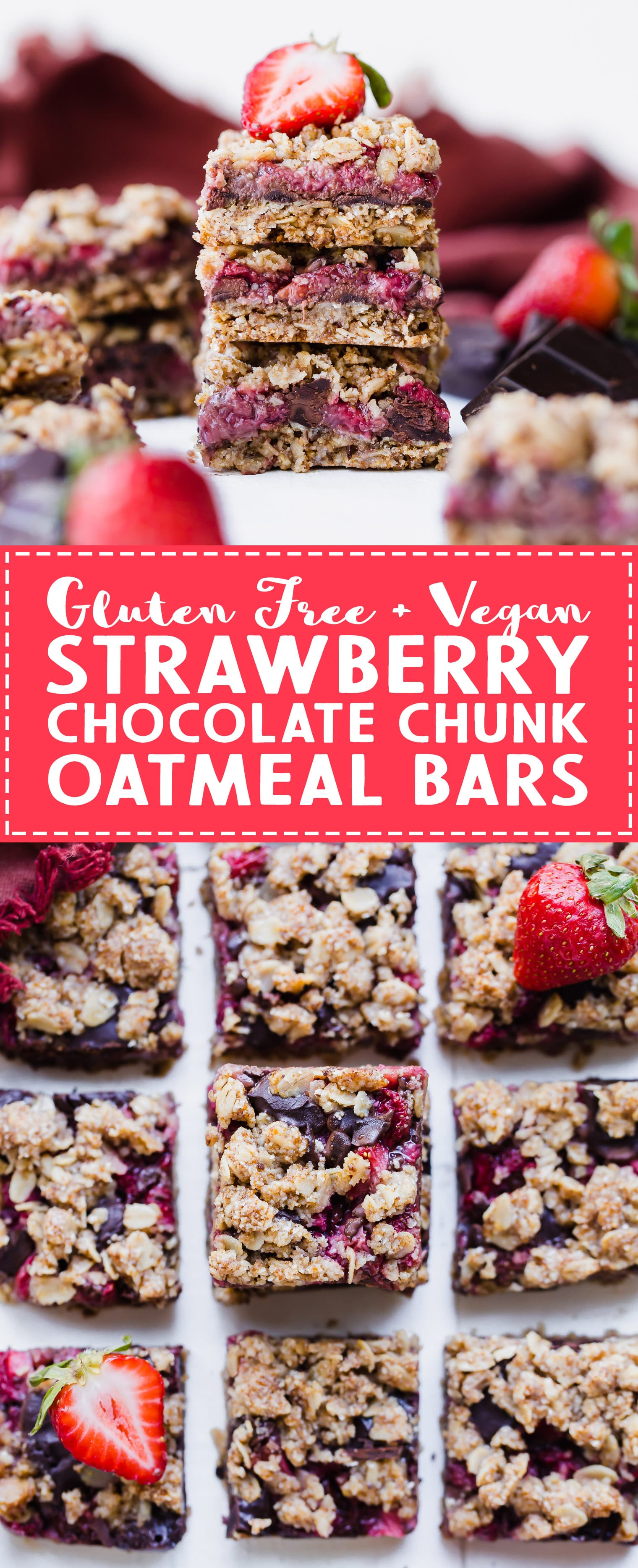 These Strawberry Chocolate Chunk Oatmeal Bars have an oatmeal cookie crust and crumble, filled with fresh strawberries and dark chocolate chunks - it makes for an irresistibly delicious treat! These oatmeal bars are gluten-free, refined sugar-free, and vegan.