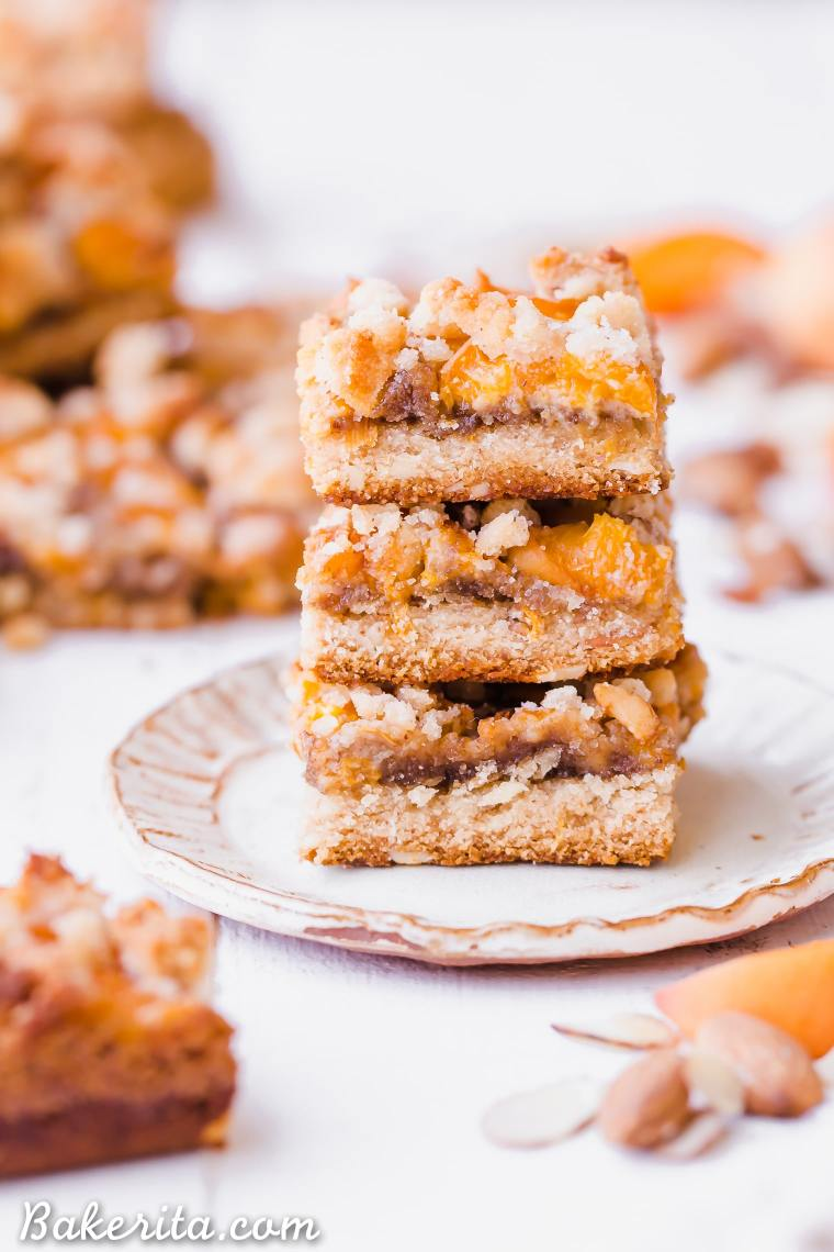 In these Apricot Frangipane Bars, apricots and almonds come together in the most delightful way - the shortbread crust is topped with an almond frangipane filling and topped with fresh, juicy apricots. These gluten-free, paleo, and vegan bars are irresistibly delicious. You can customize them with your favorite stone fruit, too!