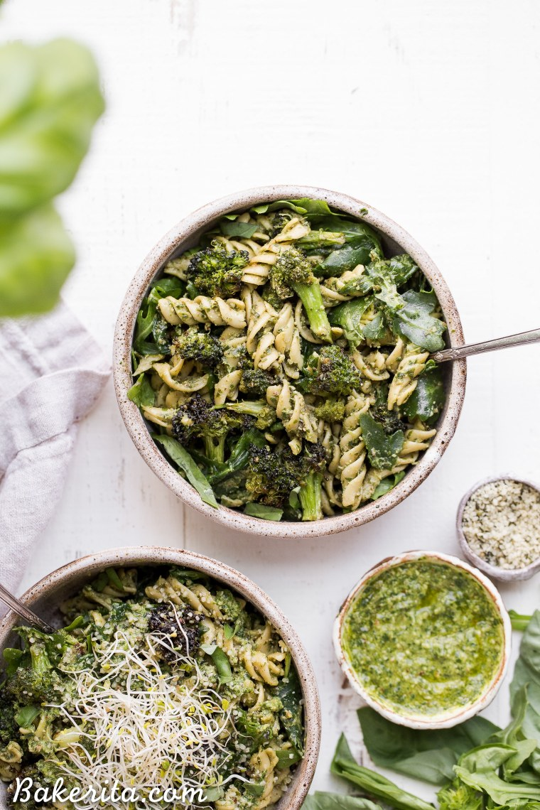 This Arugula Pesto Pasta Bowl with Broccoli is one of my favorite quick and easy go-to meals! It's filling, nutritious, and simple to make in just 30 minutes. You're going to want to put the homemade dairy-free arugula pesto on everything!