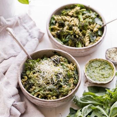 Arugula Pesto Pasta Bowl with Broccoli (Gluten Free + Vegan)