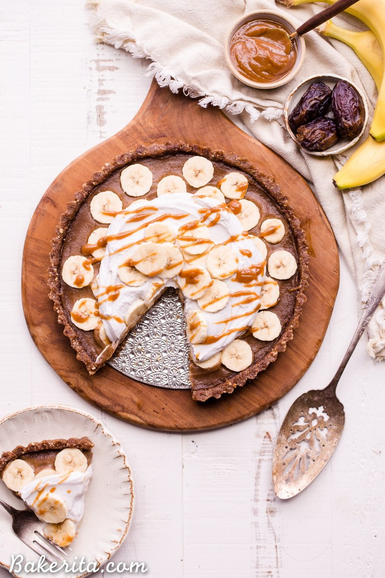 This No Bake Banana Caramel Tart is similar to a classic Banoffee pie, but there's no baking necessary and it's sweetened entirely with dates! This healthy twist on a classic is sweet and scrumptious with a date caramel filling and coconut whipped cream on top. It's gluten-free, paleo, and vegan.