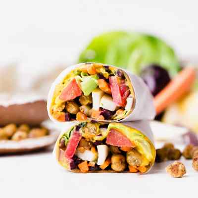 Roasted Chickpea Veggie Wraps with Turmeric Hummus and Tahini Dressing (Gluten Free + Vegan)