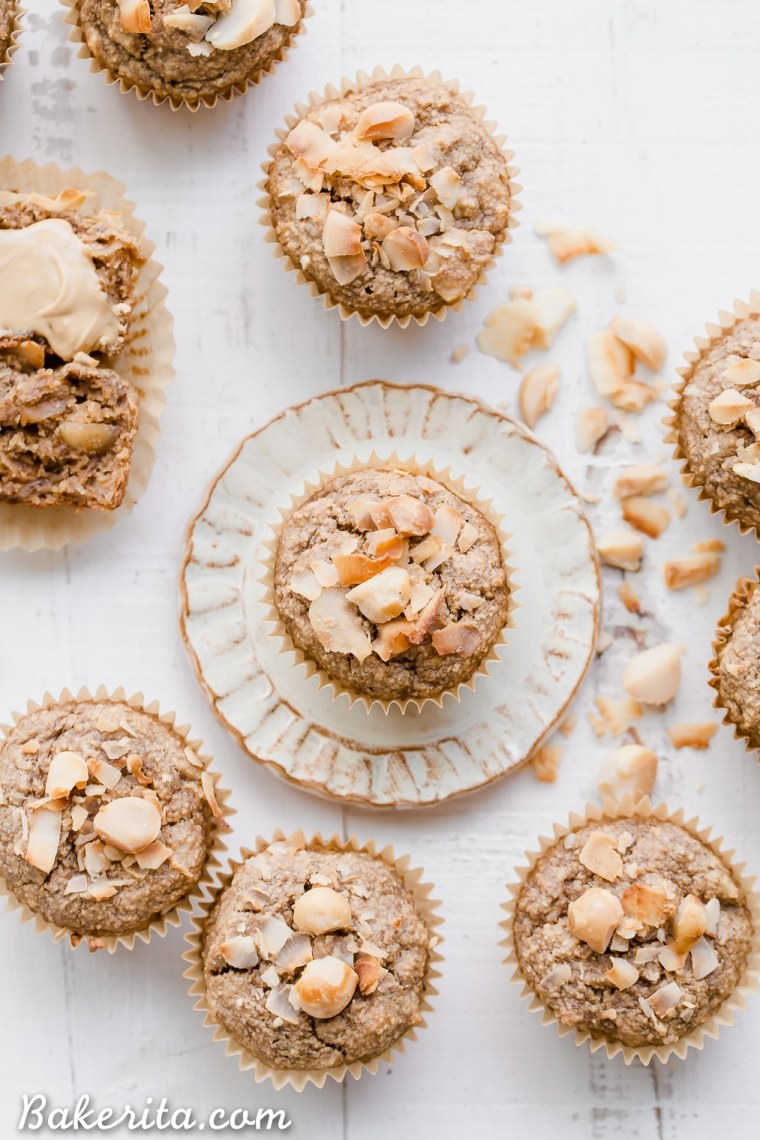 These Macadamia Nut Coconut Banana Muffins are tender, moist, and perfectly sweet for breakfast. Slathered with a little jam or nut butter, these gluten-free and vegan banana muffins make a wonderful snack or breakfast that will keep you satiated for hours.