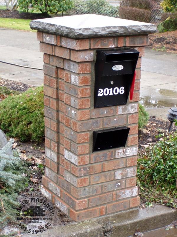Brick Mailbox with Stone Cap