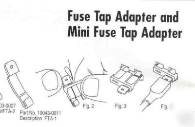 Mini fuse tap adaptors automotive w/females 22-18 wire