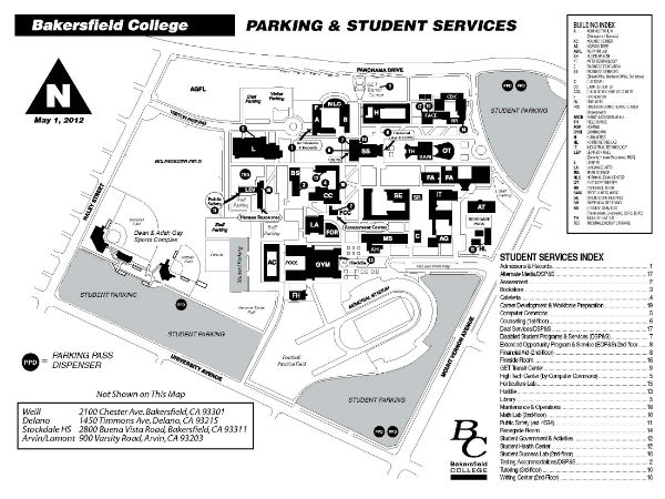 Bakersfield College Parking Map